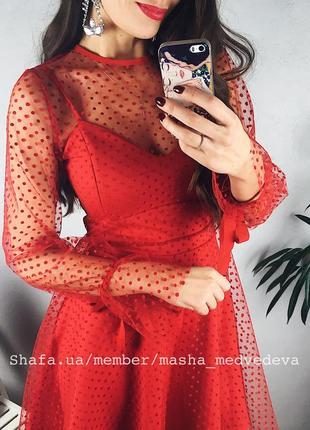❤️невероятное двойное прозрачное нарядное платье с сеточкой пышной юбкой3 фото