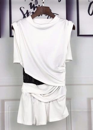 Брендрвая футболка с корсетной основой люкс1