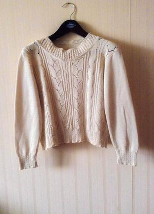 Базовый оверсайз свитер свитшот бежевый италия теплый бесплатная доставка