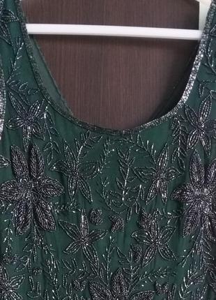 Платье коктельное р.46 вишито биссером на шифоне, на подкладке3