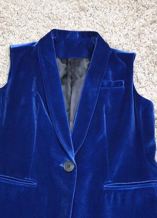 Красивый брендовый синий бархатный костюм как у блей3