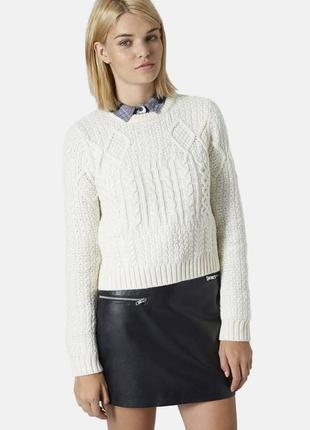 Вязаный свитер в косы1 фото