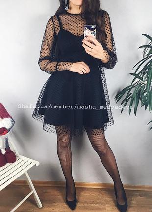 🖤невероятное двойное прозрачное нарядное платье с сеточкой пышной юбкой3