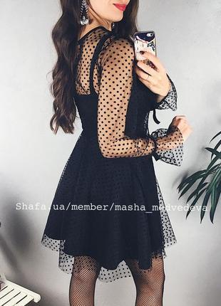 🖤невероятное двойное прозрачное нарядное платье с сеточкой пышной юбкой5