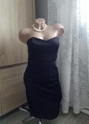 &маленькое черное облегающее платье с мерцанием на новый год, без бретелей, р.38/м2