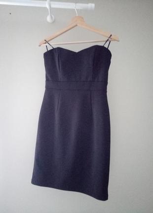 &маленькое черное облегающее платье с мерцанием на новый год, без бретелей, р.38/м3