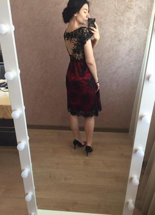 Шикарное вечернее, выпускное платье миди бордового цвета в бисер1