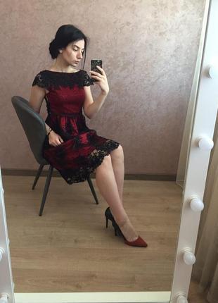 Шикарное вечернее, выпускное платье миди бордового цвета в бисер2