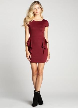 Оригинальное бордовое мини платье с открытой спиной от zara, р. 26(xs/s)