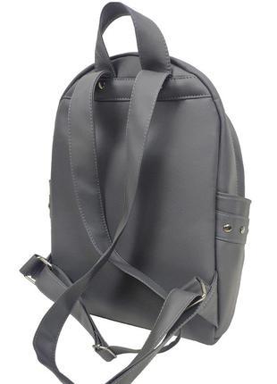 Городской серый рюкзак женский для прогулок с экокожи3