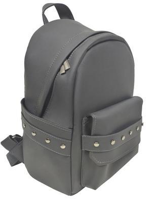 Городской серый рюкзак женский для прогулок с экокожи4