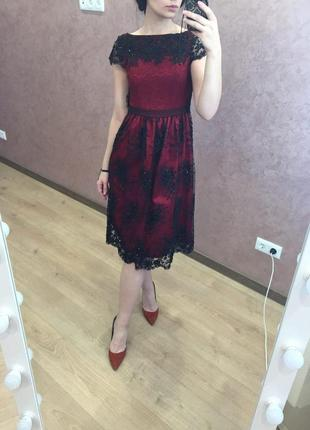 Шикарное вечернее, выпускное платье миди бордового цвета в бисер3