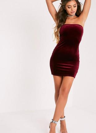 Нарядное вечернее платье-бандо винного цвета1