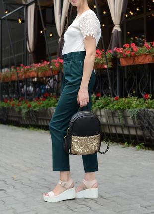 Женский рюкзак молодежный чёрный с блестками для учебы, прогулок1