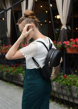 Женский рюкзак молодежный чёрный с блестками для учебы, прогулок2