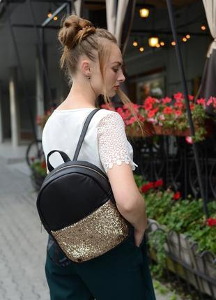 Женский рюкзак молодежный чёрный с блестками для учебы, прогулок3