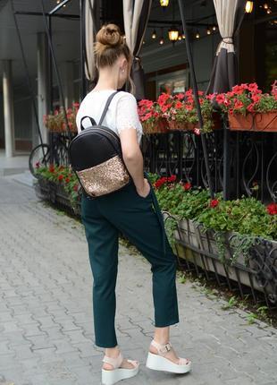 Женский рюкзак молодежный чёрный с блестками для учебы, прогулок4