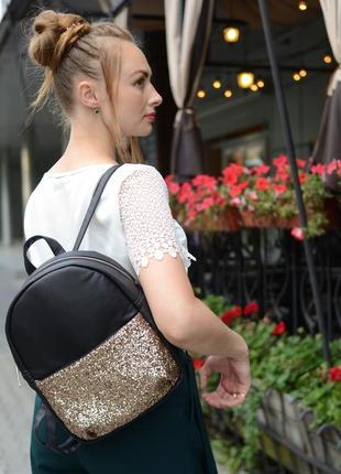 Женский рюкзак молодежный чёрный с блестками для учебы, прогулок5