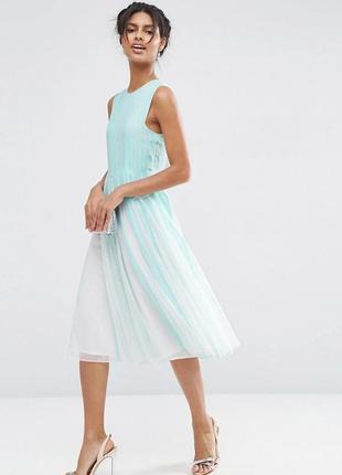 Мятное шифоновое платье-плиссе миди asos1 фото