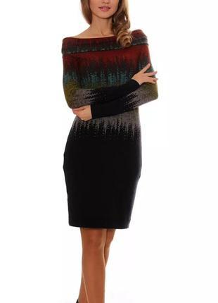 Яркое ангоровое платье с воротником-хомутом от kamelia1