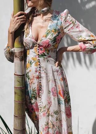 Красивое брендовое платье принт цветы бренд люкс