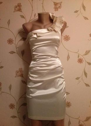 Платье атласс драпировано1