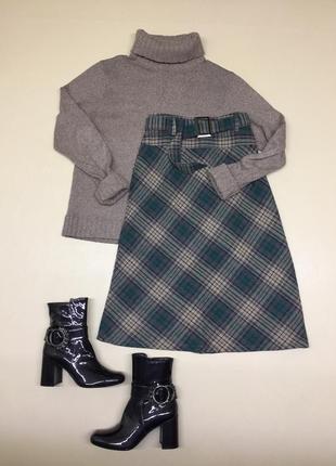 Тёплая юбка в клетку а-силуета2