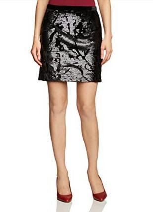 Шикарная, красивая, нарядная велюровая, бархатная черная юбка в паетки от inwear1