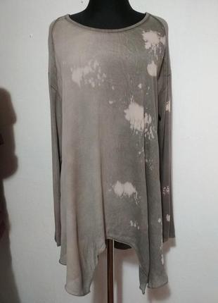 Фирменная, шелковая, итальянская блуза, туника, супер крой, скрывает особенности фигуры4
