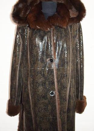 Шикарная дубленка с лазерной накаткой,большой размер,батал1