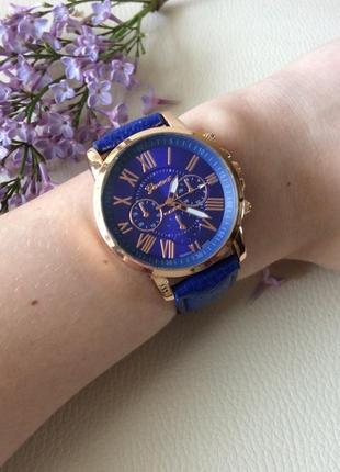 Наручные женские часы geneva с синим ремешком1 фото
