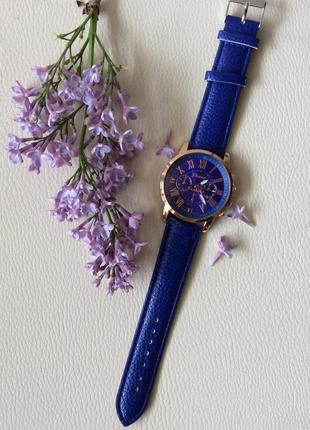 Наручные женские часы geneva с синим ремешком2 фото