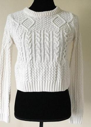 Вязаный свитер в косы4 фото