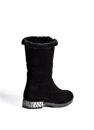 Женские зимние полусапоги сапоги ботинки с отворотом замшевые черные1