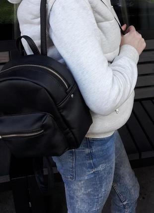 Женский рюкзак маленький чёрный  для прогулок, учебы, города2