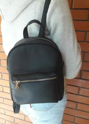 Женский рюкзак маленький чёрный  для прогулок, учебы, города3