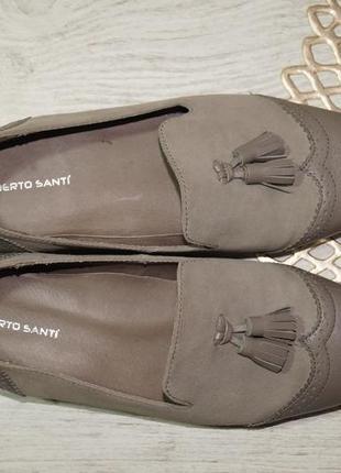 (39/25,5см) roberto santi! замша/кожа! классные туфли, лоферы с кисточками на низком ходу3