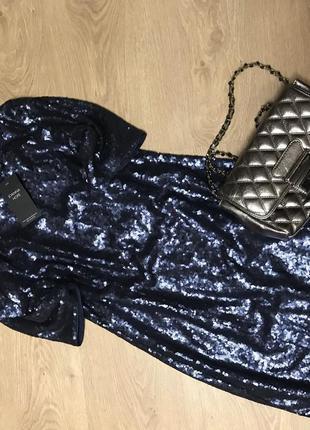 Платье в паетках ,синее ,праздничное l-xl1