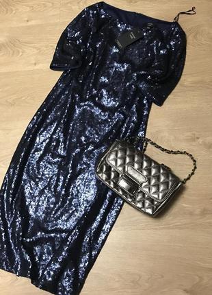 Платье в паетках ,синее ,праздничное l-xl3