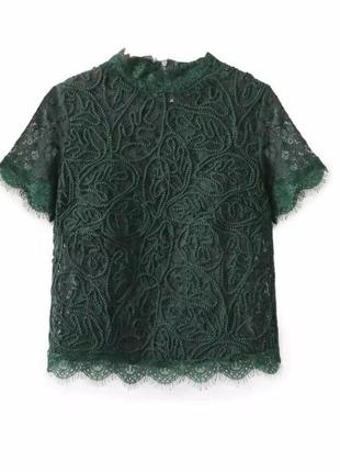 Кружевная блуза глубокого зеленого цвета!3