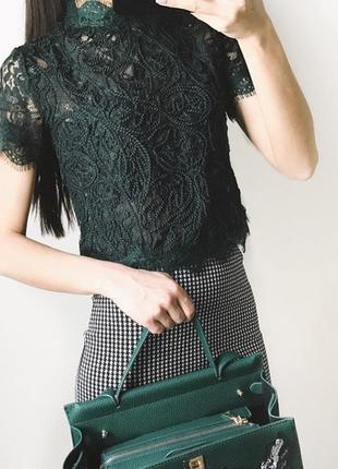 Кружевная блуза глубокого зеленого цвета!4