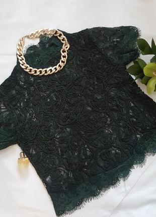 Кружевная блуза глубокого зеленого цвета!5
