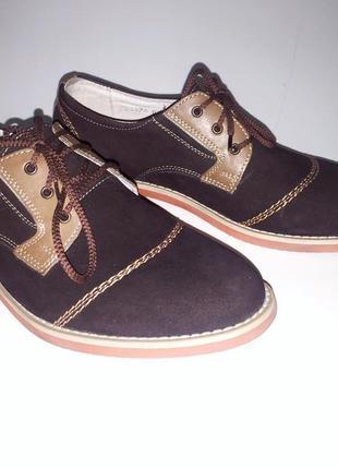 Оригинальный дизайн - стильные женские туфли - нубук, кожа - р.37,5-385
