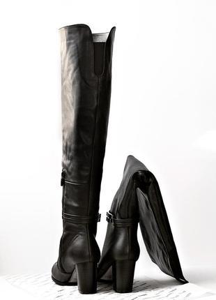 Женские зимние ботфорты из натуральной кожи или замши еврозима р. 35 36 37 38 39 40 черные2