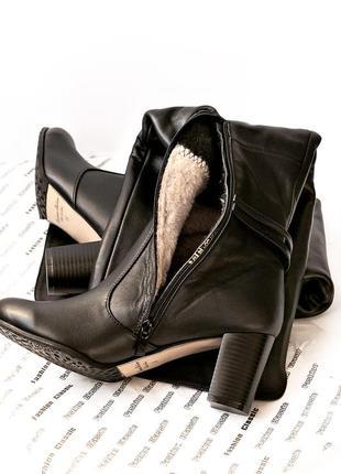 Женские зимние ботфорты из натуральной кожи или замши еврозима р. 35 36 37 38 39 40 черные5