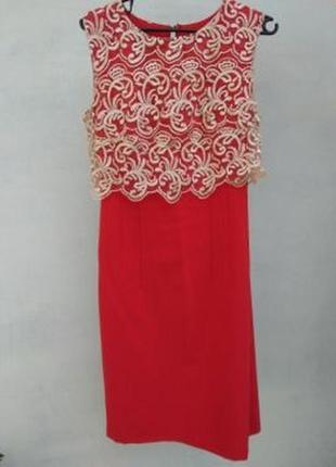 Кружевное красное платье с кружевом червона сукня2