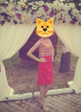 Кружевное красное платье с кружевом червона сукня4