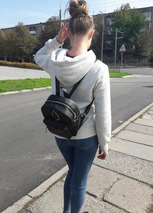 Женский рюкзак маленький чёрный  для прогулок, учебы, города smile1