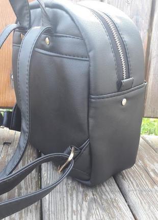 Женский рюкзак маленький чёрный  для прогулок, учебы, города smile4