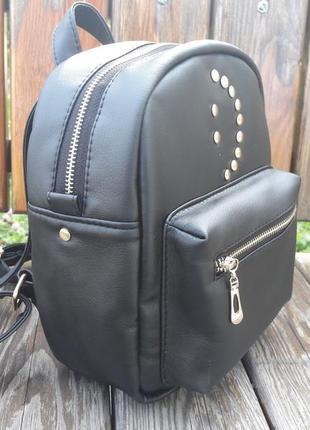 Женский рюкзак маленький чёрный  для прогулок, учебы, города smile3